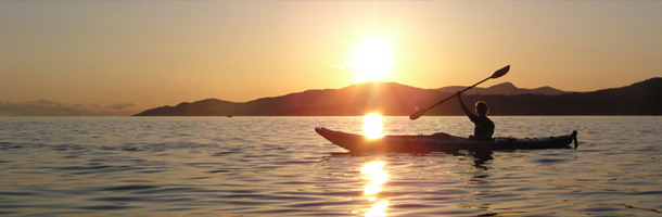 Picture of a kayak at sunset